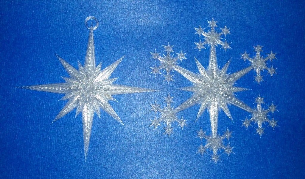 Star And Snowflake Star Ornament By Makealot Thingiverse Star Ornament Snowflakes Ornaments