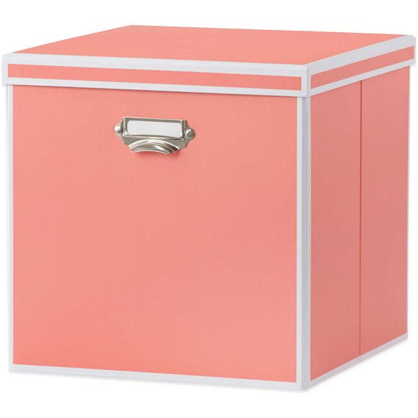 Real Simple Foldable Storage Box Bin With Lid In Coral ❤ Liked On Polyvore  Featuring Home, Home Decor, Small Item Storage, Coral Home Accessories, ...