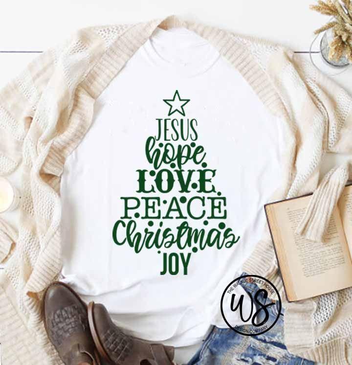 Download Jesus, Hope, Love, Peace, Christmas, Joy Tree Shaped Words ...