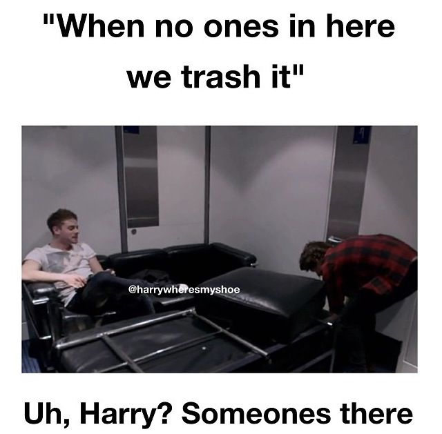 Haha yeah apparently Harry didn't see this man casually sitting on the couch! He must be invisible!