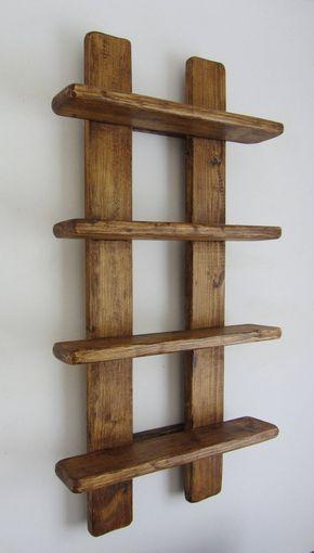 75cm Tall Shabby Chic Rustic Reclaimed Wood 4 Tier Floating Shelf Trinket Shelves Display Shelves Spice Rack Projetos Com Paletes De Madeira Prateleiras De Pallet Moveis De Paletes