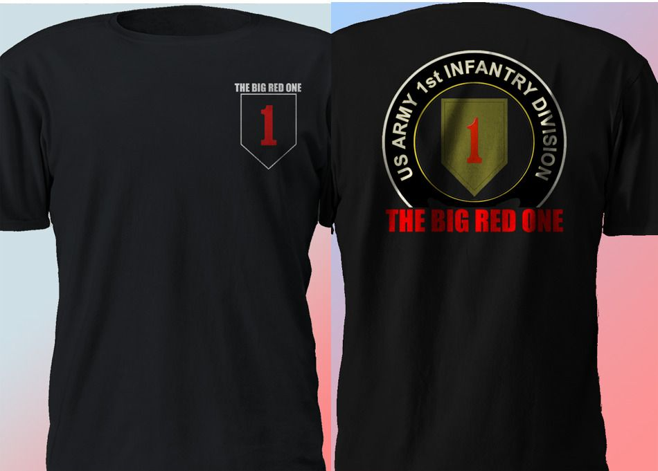 US 1st Infantry Division The Big Red One Militar ARMY Veteran T Shirt S-4XL