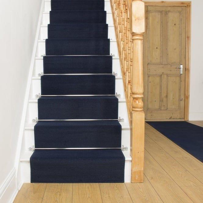 Plain Blue Stair Runner Gray Stair Runner Stair Runner Carpet | Navy Carpet On Stairs | Wooden | Loop Pile | Wall To Wall Carpet | Dark Blue | Geometric
