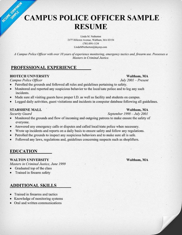Campus #Police Officer Resume Sample #Law (resumecompanion - resume for security officer