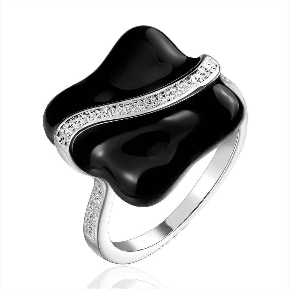WHOLESALE SMTR672 Black oil drip silver finger ring for lady ...