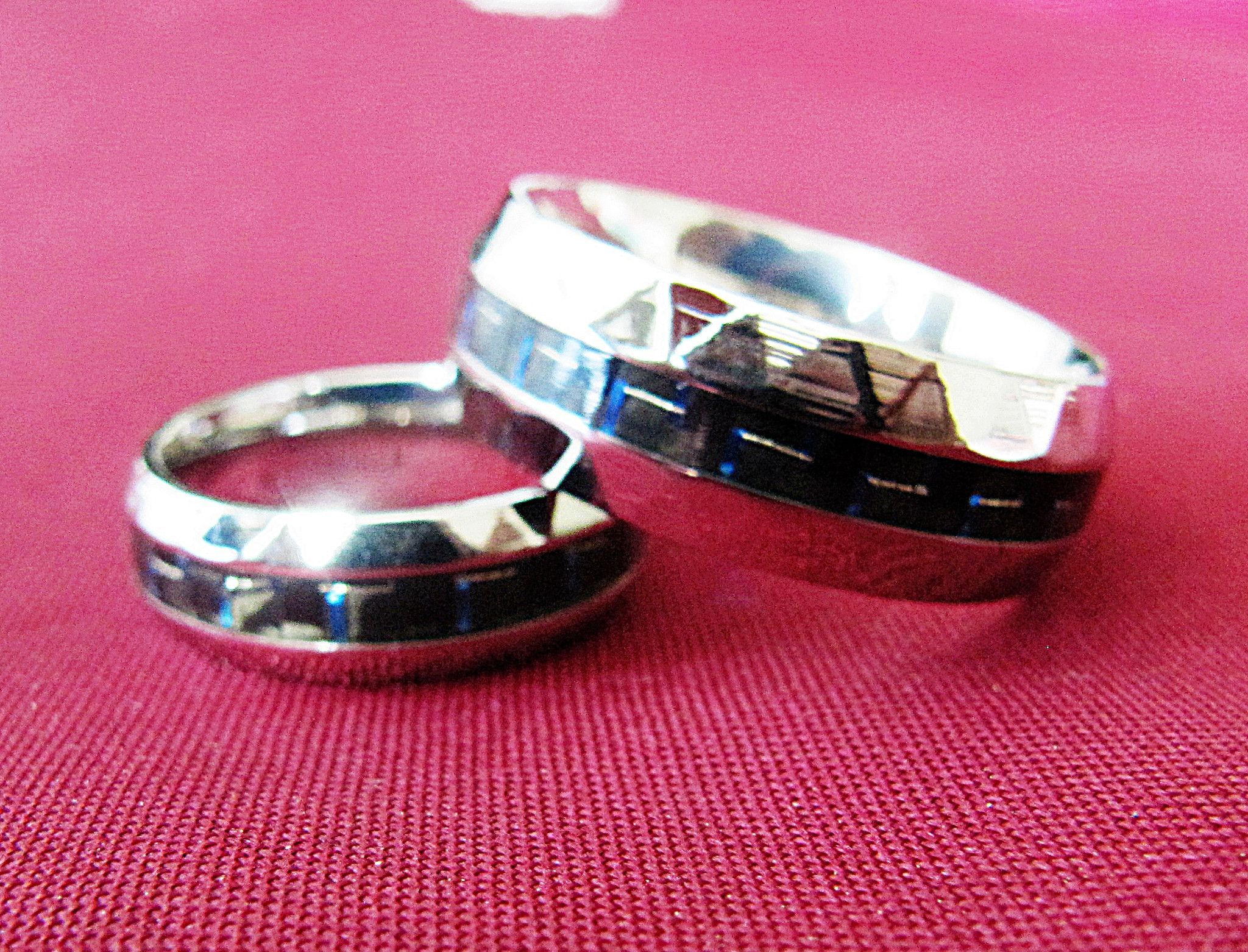 316 Stainless Steel Ring Mulit-faceted Edges Blue Carbon Fiber Inlay ...