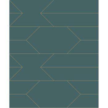 Papier Peint Intisse Trait Bleu Vert Et Or Leroy Merlin Home