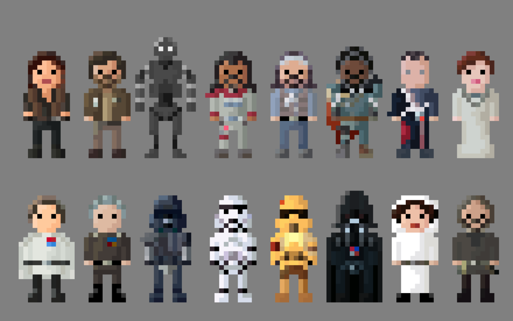 A collection of characters from the newly released Star Wars anthology film! Characters include: Jyn Erso Cassian Andor K-2SO Baze Malbus Bohdi Rook Saw Gerrera Chirrut Imwe Mon Mothma Director Kre...