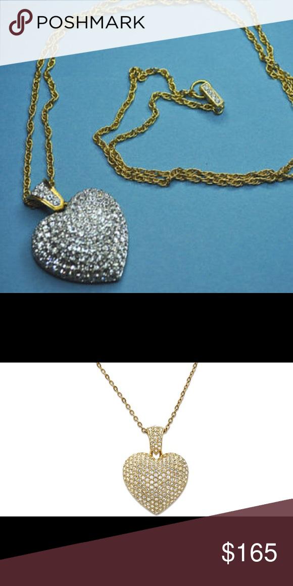 587f5d8ff Swarovski goldtone large heart pendant nwot Large pave set clear crystal  stone pendant/necklace Swarovski Jewelry Necklaces