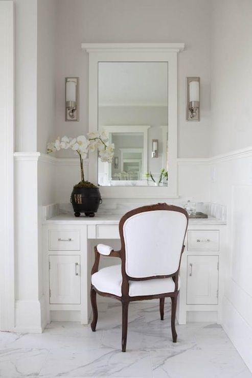 Milton Development Master bathroom with gray paint color chair rail