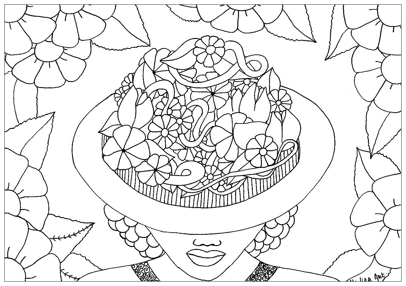 Adult Coloring Page Lady Flowers Digital Coloring Page Printable