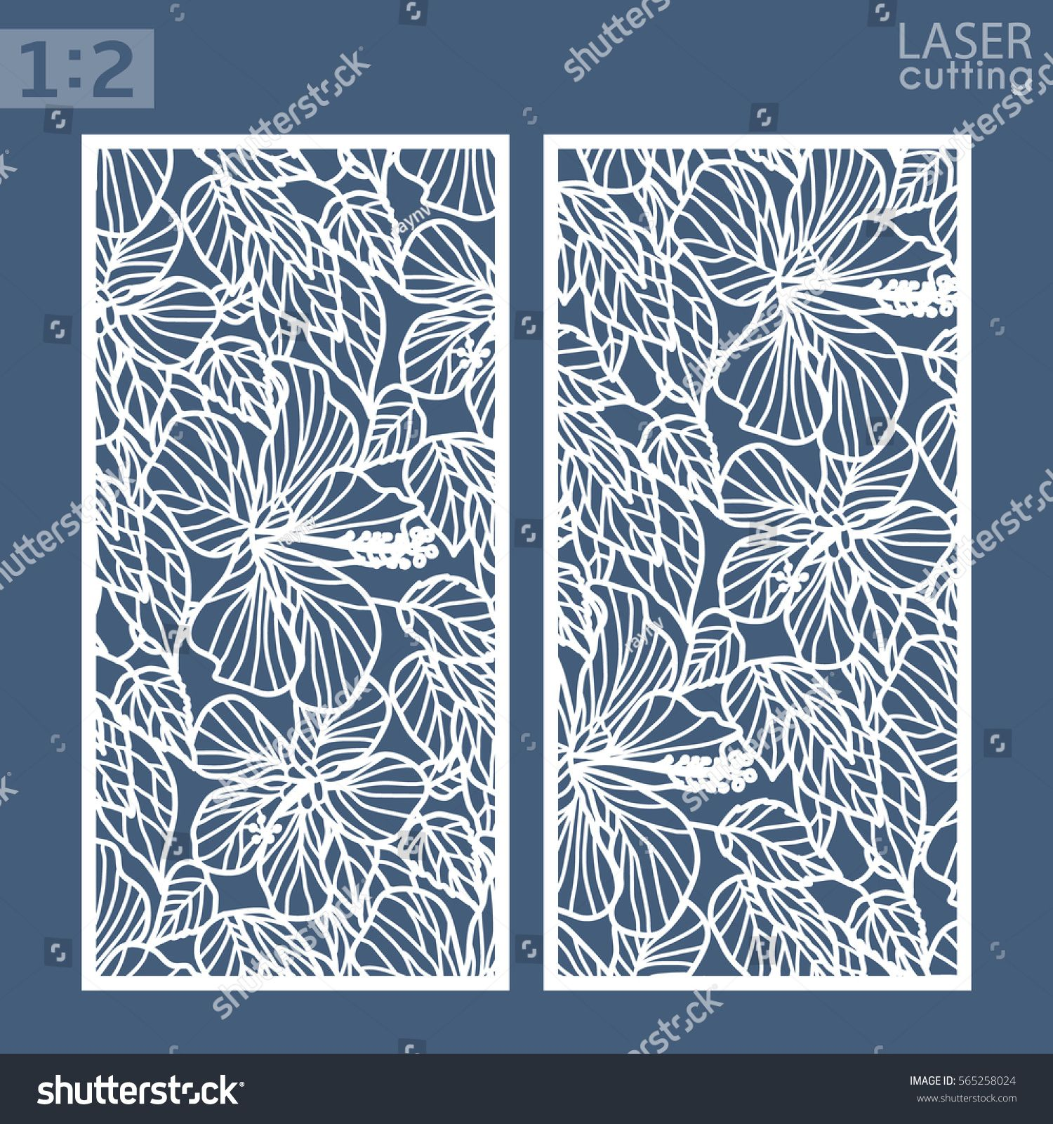 Die and laser cut ornamental panels with floral pattern Hibiscus