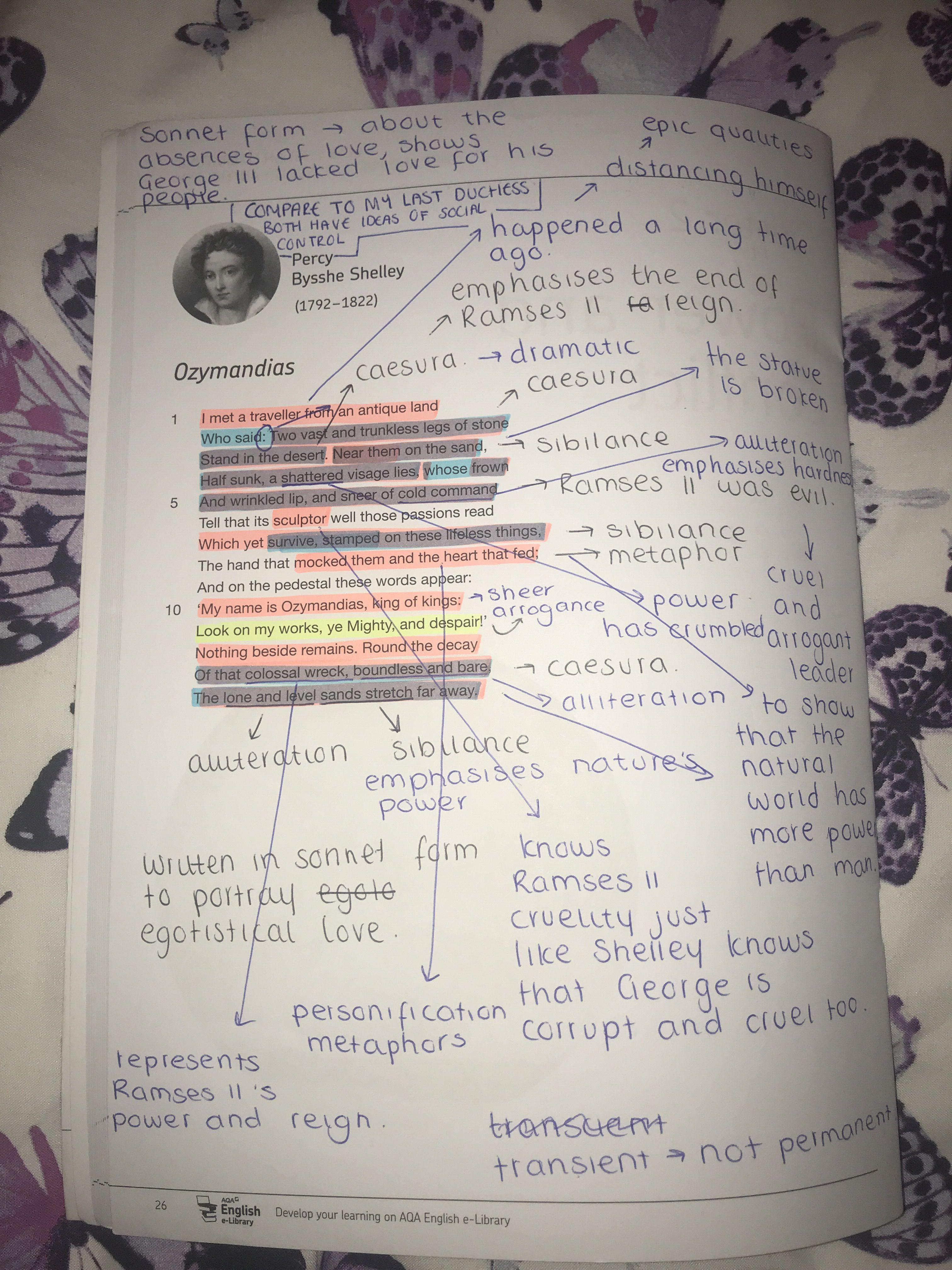 Ozymandia By Percy Bysshe Shelley English Literature Note Gcse Poem Analysis