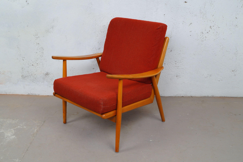 4x Relax Chair Sessel Stuhl 60er Kirschholz Midcentury Retro