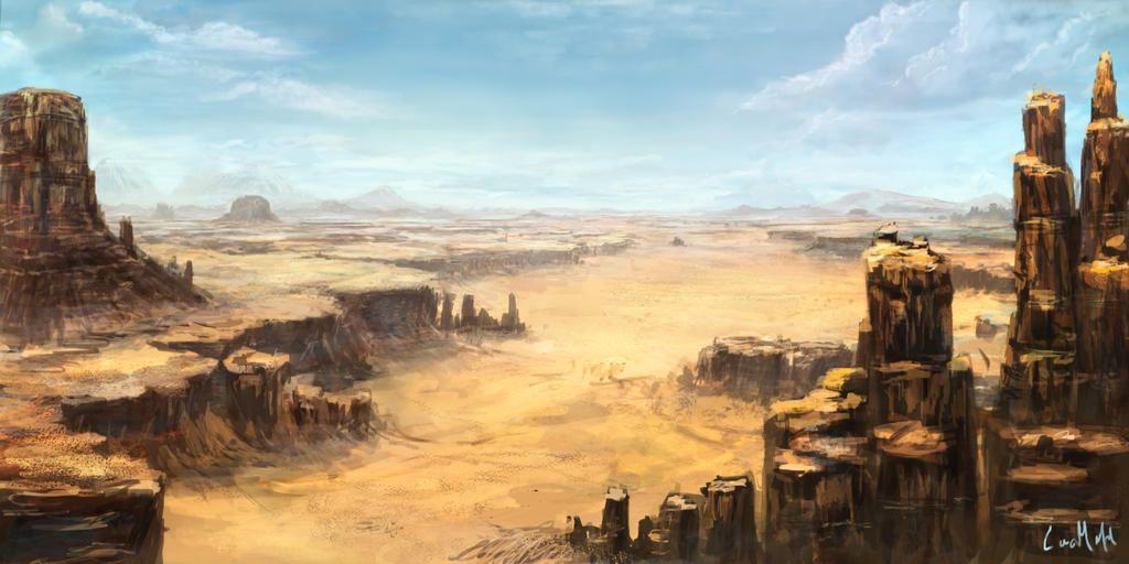 Desert Landscape By Https Www Deviantart Com Rambled On Deviantart Desert Landscape Painting Desert Art Fantasy Landscape