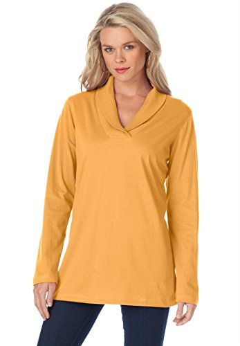 bdc70dd1 Roamans Women's Plus Size Shawl Collar Ultimate Tee | Def Planet's ...