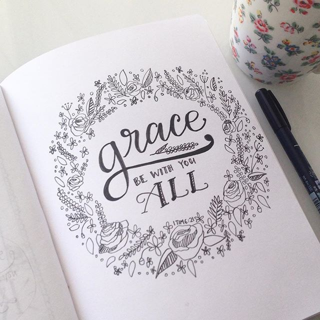 Grace! Such a great word. 1 Timothy 6:21 #30daysofbiblelettering #100dayproject #botanicalpickmeup