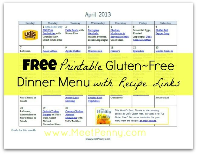 Free Printable Gluten Free Dinner Menu For April Gluten Free
