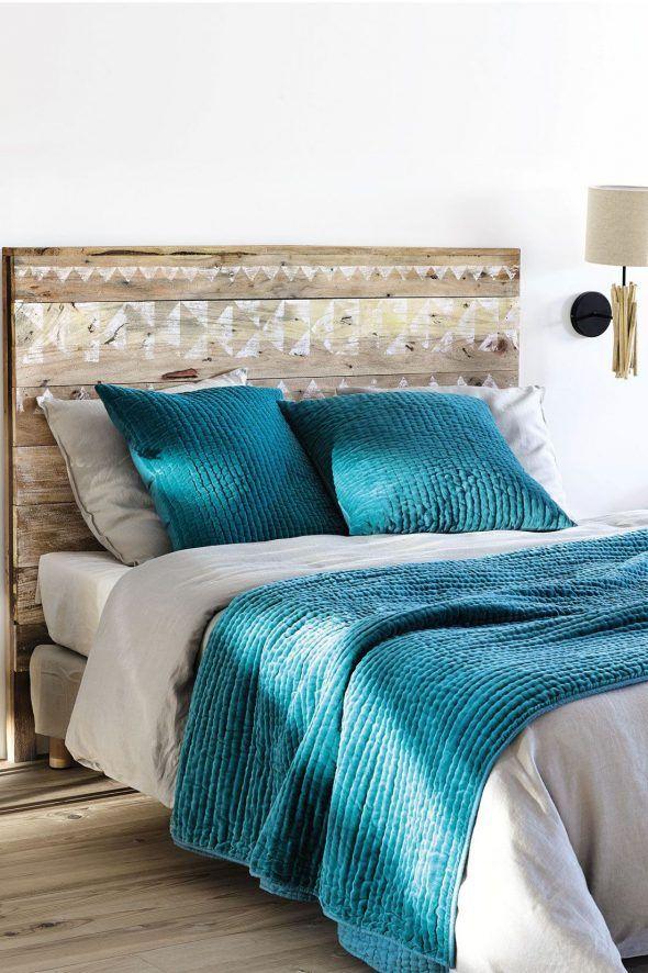 Tete de lit bois et peinture diy esprit recuperation motifs peints - peindre un lit en bois