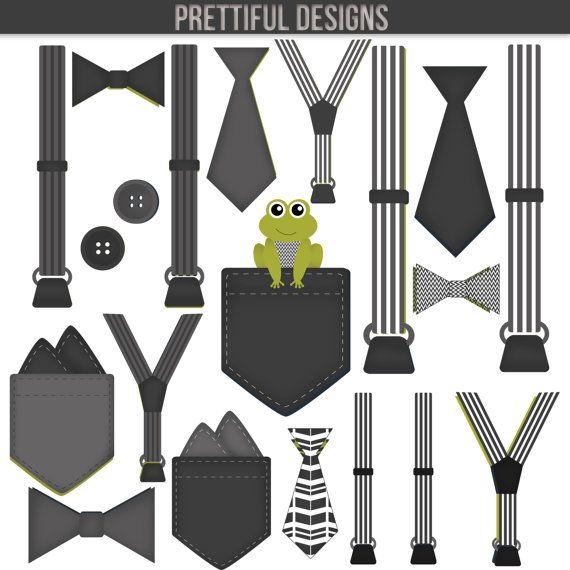 991de334bd74 Boy Onesie Accessories Clip Art Pocket Handkerchief Suspender Tie Bow Tie  Clip Art Little Gentleman Black White Gray
