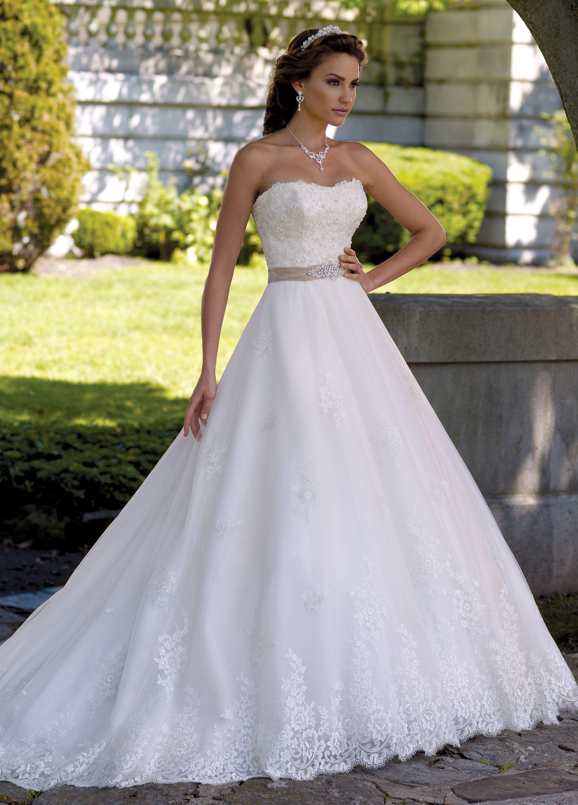 Strapless lace u jeweled ball gown wedding dress margie
