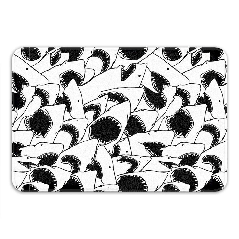Funny bathroom rugs - Forever Jaws Memory Foam Bath Mat Funny Shark Bathroom Rug Printed In Usa By