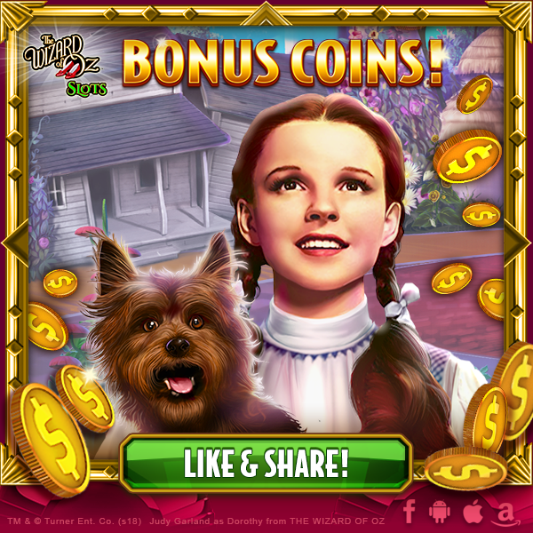 Wizard of Oz slots free bonus spins.Another bonus you may get while you play Wizard of Oz slots is the Winged Monkey feature.This Wizard of Oz slots free bonus comes in the form of eight Wizard of Oz slots free spins.To activate this bonus, you have to enter the Oz Pick mode triggered by the appearance of three Feature symbols on the reels.
