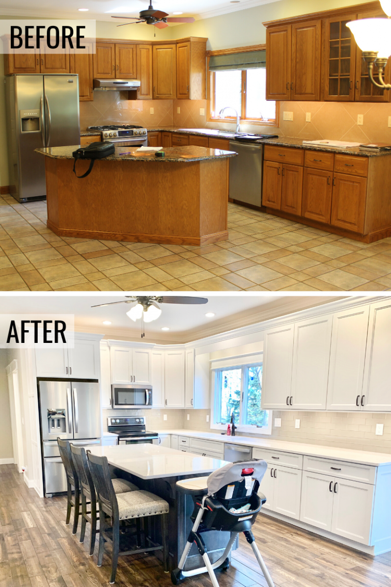 A Galesburg Il Kitchen Remodel Removing Old Golden Oak And Replacing With A Stylish Combination Of White Kitchen Cabi Kitchen Island Oak Home At Home Store