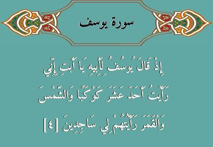 القرآن الكريم تلاوة وتفسير آية 4 سورة يوسف Words Islam Calligraphy