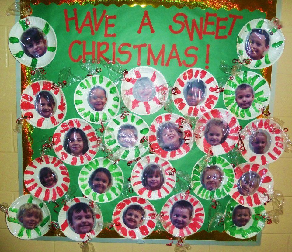 A Sweet Christmas classroom bulletin board- candy peppermints made out of pictures and paper plates #decemberbulletinboards