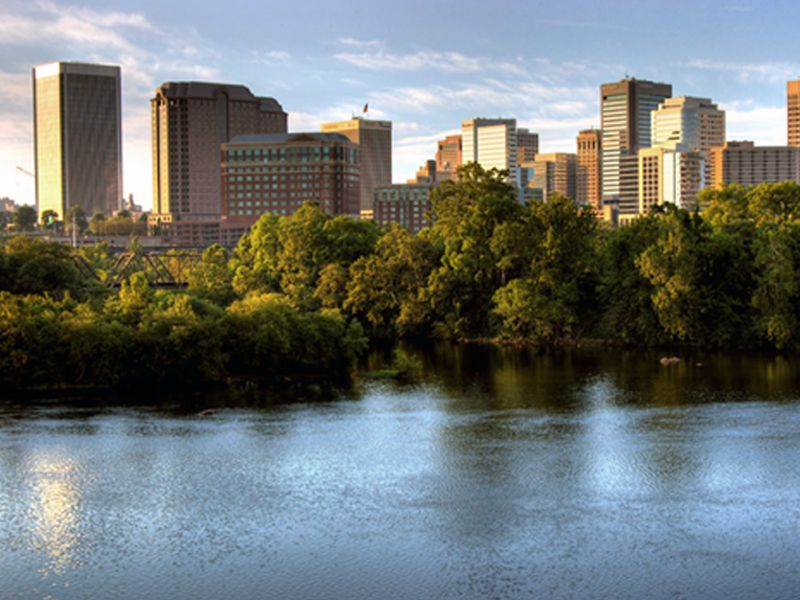 Lovely photo of the James and Downtown Richmond! (With