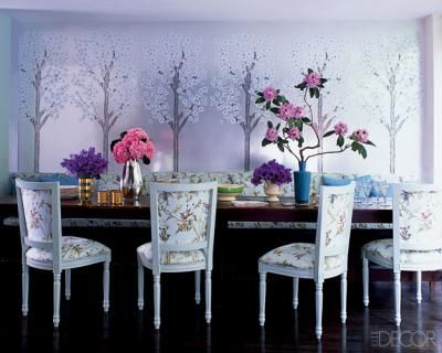 Designer Cynthia Rowleyu0027s Dining Room Featured In Elle Decor  Lavender With  Pops Of Bright