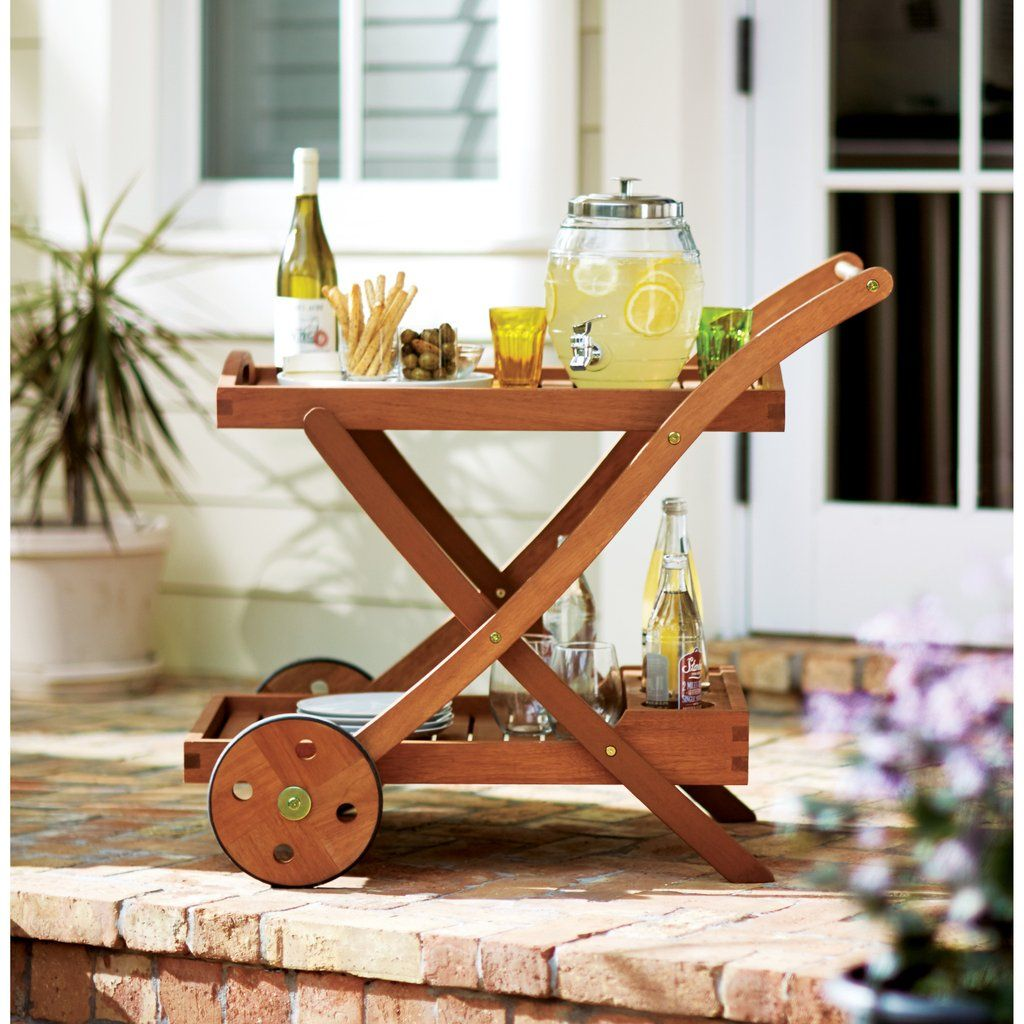 Eucalyptus Wood Outdoor Patio Serving Cart With Tray