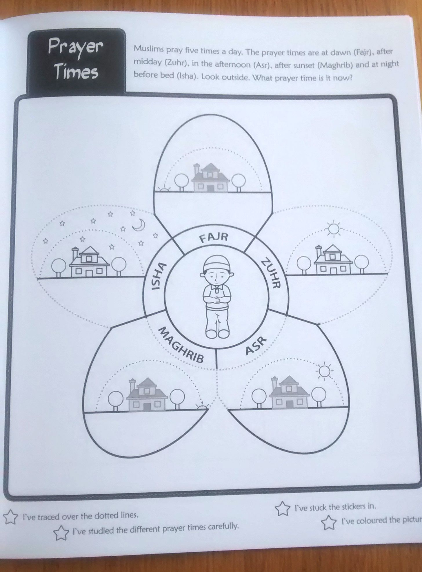 Salat Times Colouring Page