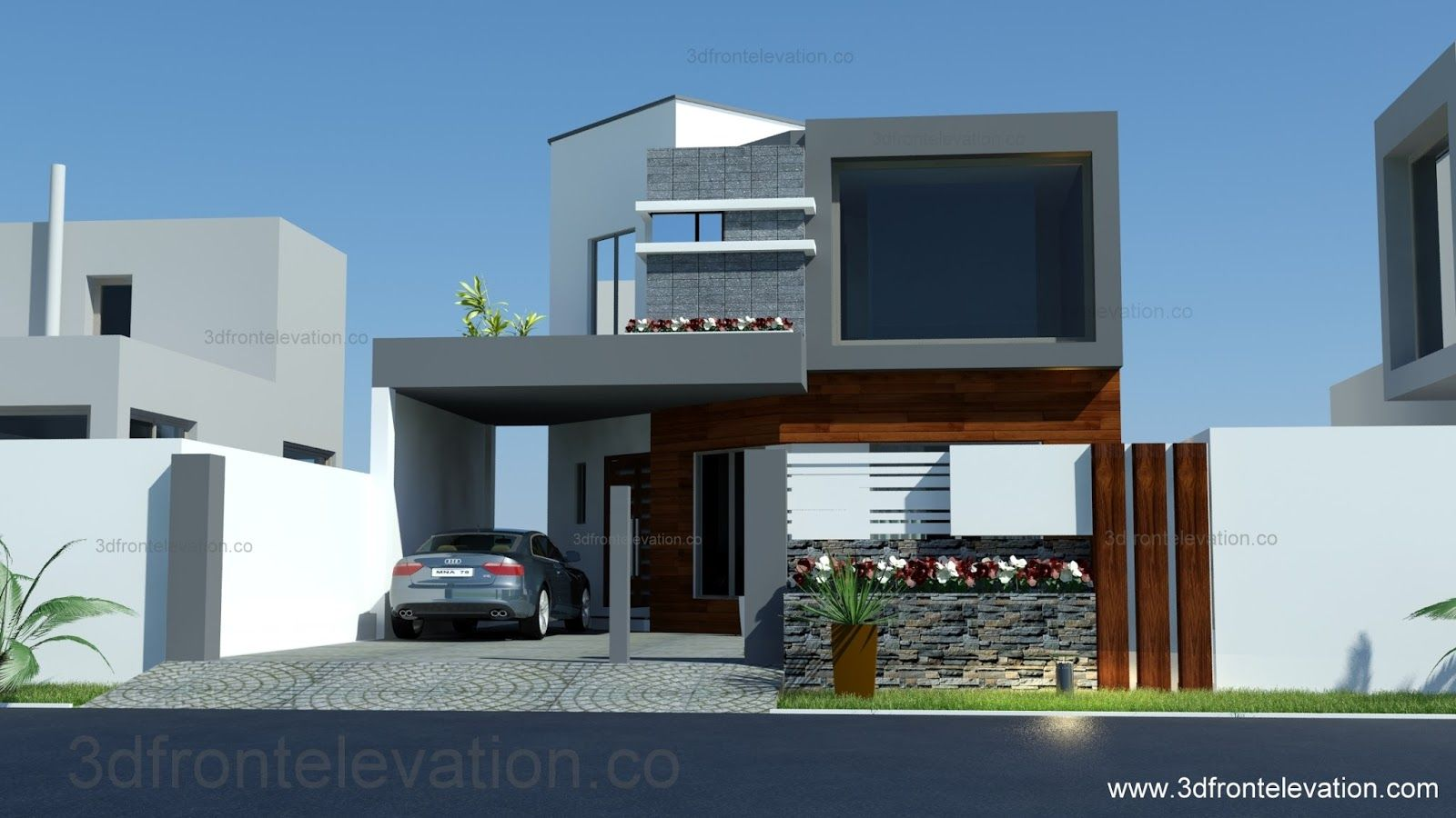 8 Marla House Plan Layout Elevation Fachadas Pinterest