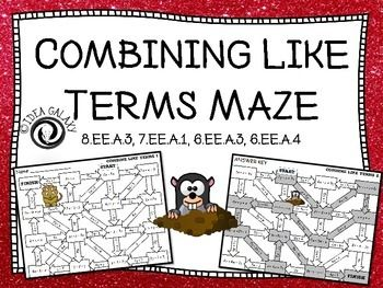 Combining Like Terms Activity   Formative assessment, Negative ...