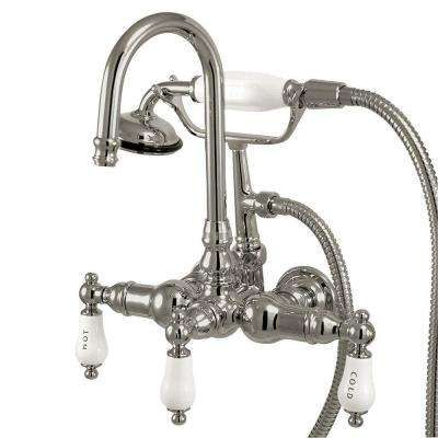 3 Handle Claw Foot Tub Faucet With Hand Shower In Chrome Clawfoot Tub Clawfoot Tub Faucet Tub Faucet