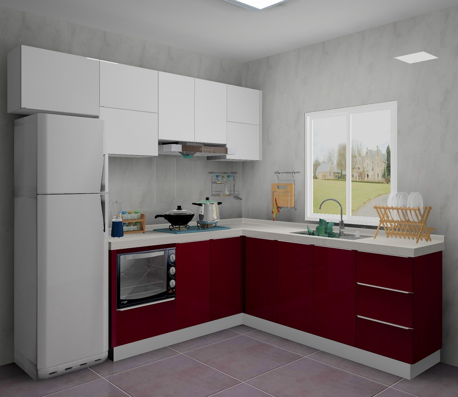 Design Your Kitchen Cabinets White Gloss This Kitchen Was Designed A White And Red Combination Color Which Can Make The High Gloss Kitchen Cabinets Gloss Kitchen Cabinets Kitchen Cabinets