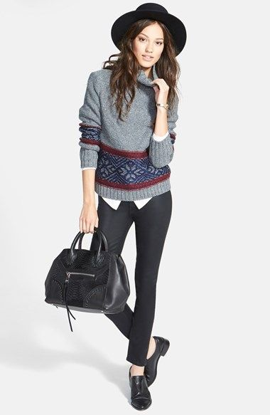 Treasure&Bond Funnel Neck Sweater, Skinny Coated Jeans & Paige Denim Silk Shirt  available at #Nordstrom