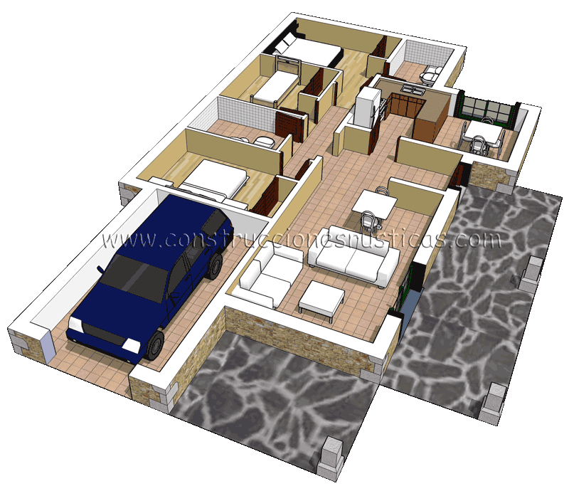 3d de distribuci n de casa r stica de piedra de planta for Casas minimalistas planta baja