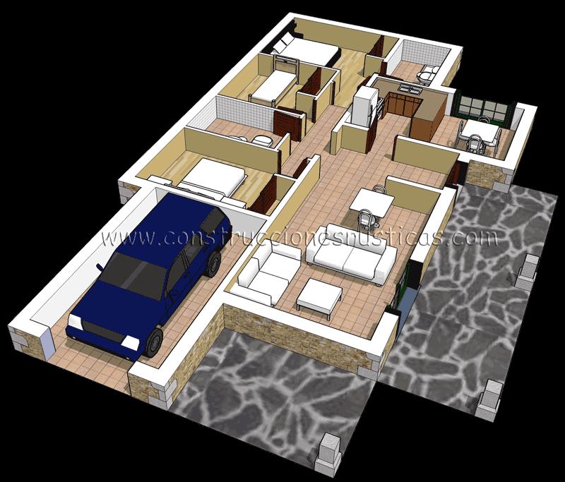 3d de distribuci n de casa r stica de piedra de planta for Casa de planta baja