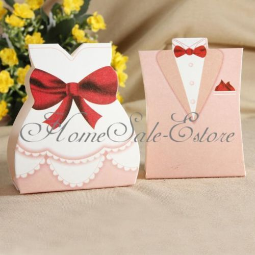 50PCS-25pairs-Pink-Bride-Groom-Tuxedo-Dress-Gown-Wedding-Favors-Candy-Gift-Box