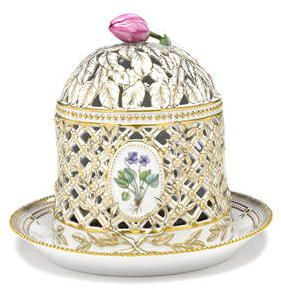 A Royal Copenhagen Flora Danica porcelain ice cream dome and stand date codes for 1980-84 and 1985-91 Titled in Latin to cover interior, printed factory mark, numbered 20/3538 height overall 11in; diameter of stand 12 1/2in