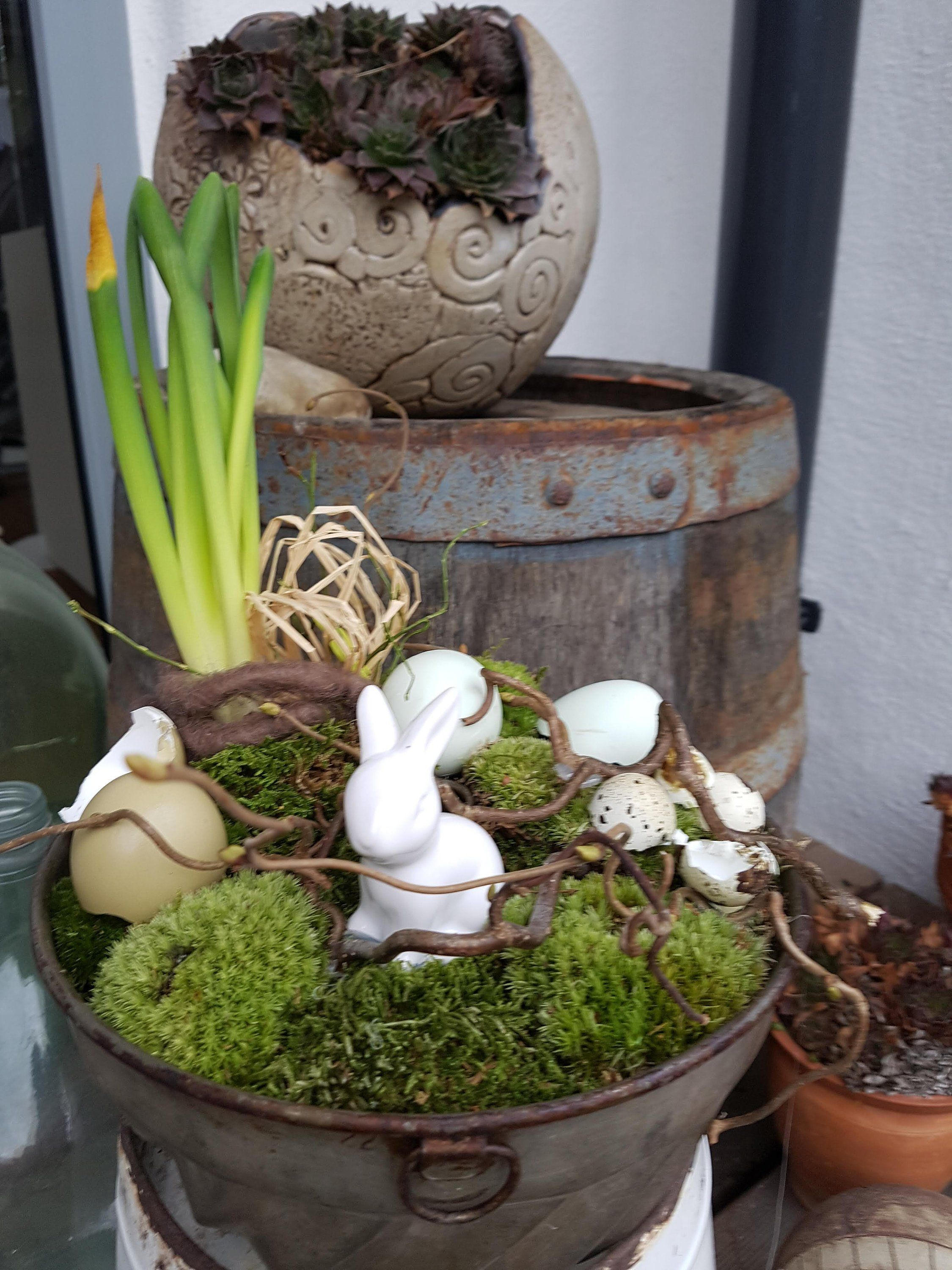 Decoration, Easter, spring, bunny, baking dish, shabby decoration, table decoration, natural decoration, gugelhupffform, moss, eggshells, quail egg