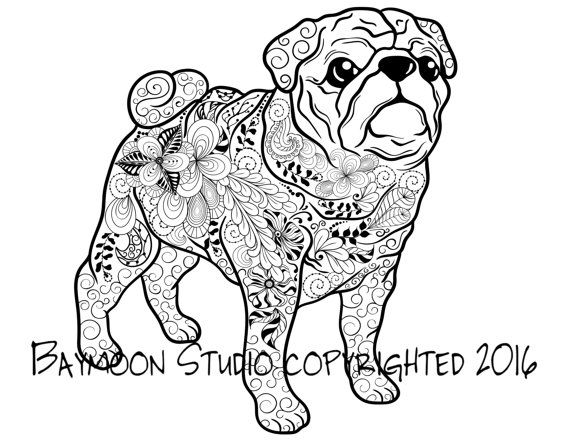 Pug Coloring Page Dog Art Printable Pages Adult Pug Tattoo