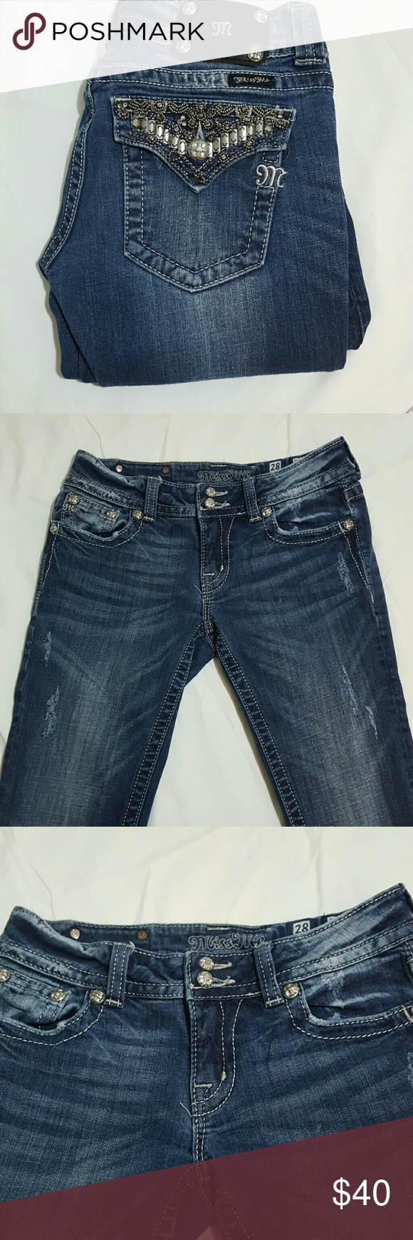 """Miss Me Bootcut Miss Me Bootcut jeans. Medium wash. Distressed.  Style JP4656B9 There are a few missing beads on the back pockets. Price reflects condition.  98% Cotton  2%Elastan  YA3  Unstretched Flat Measurements  Waist 14.5 Rise 7"""" Inseam 33"""" Miss Me Jeans Boot Cut"""