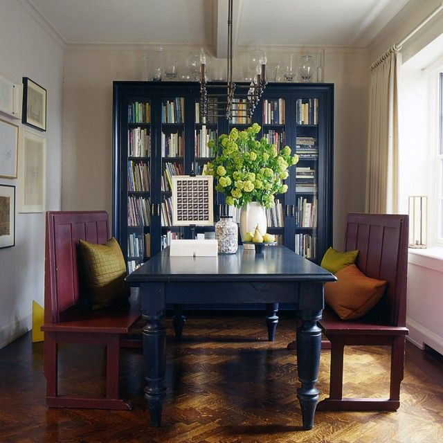 The Blue Bookcase Dining Table The Light Fixture Blue Dining