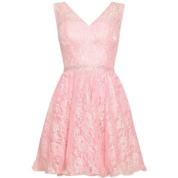 Quiz Pink lace v-neck prom dress found on Polyvore featuring ...