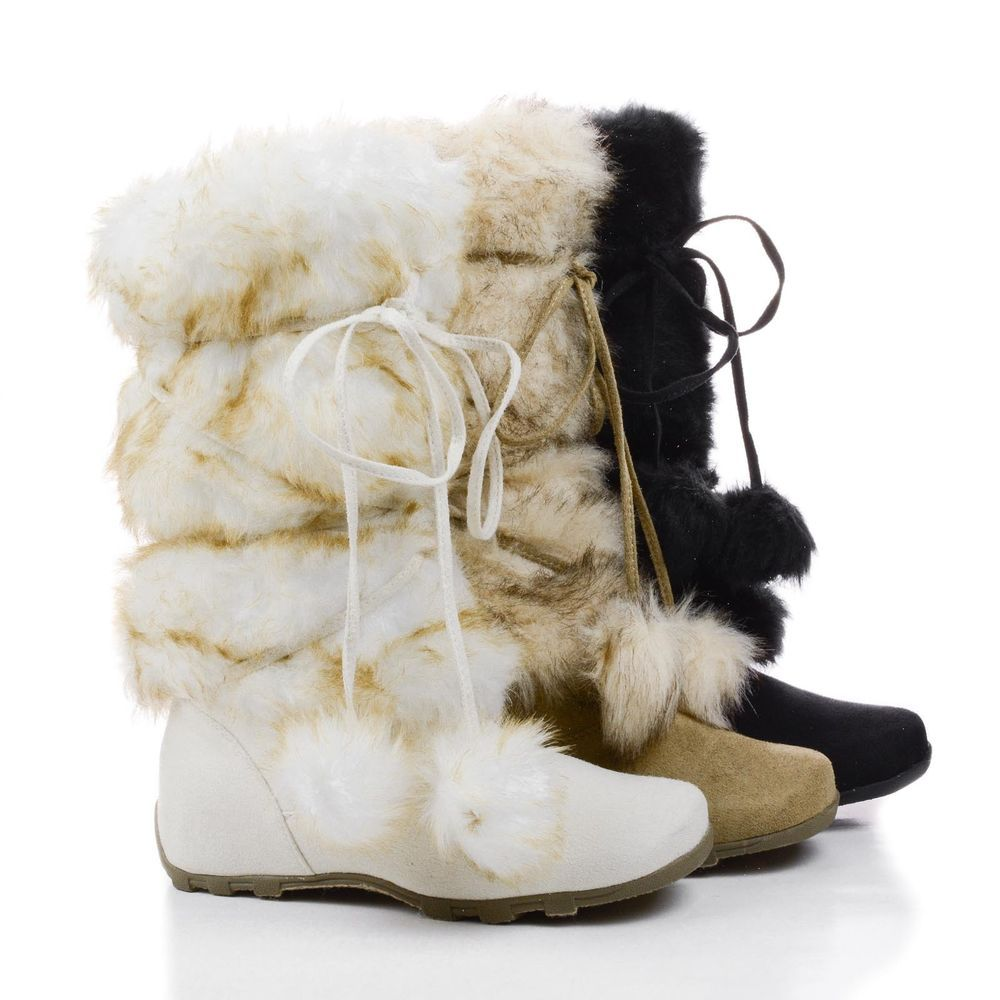 Womens Fashion Michi Faux Fur Trim Booties