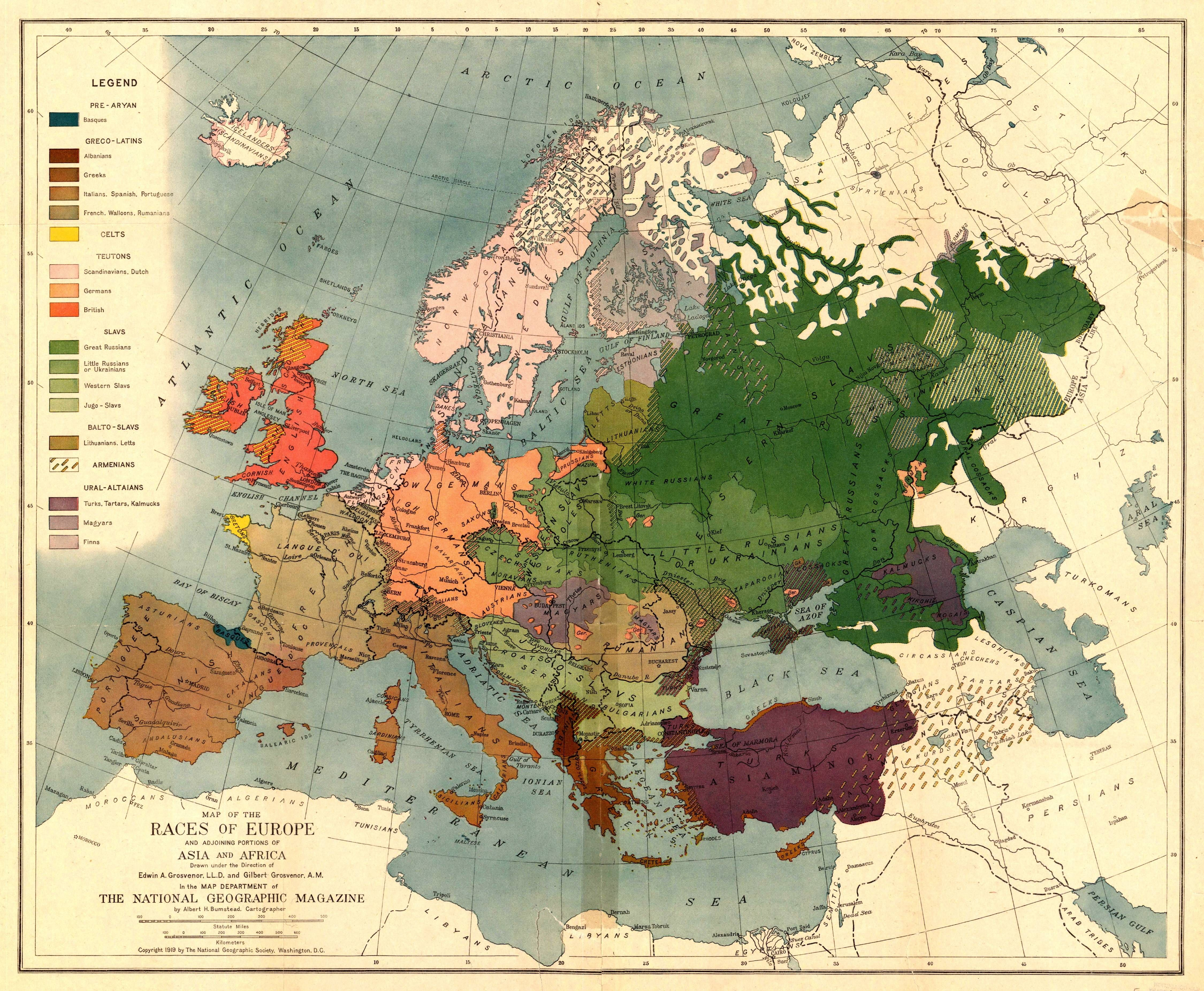 1919 National Geographic Magazine Map of the Races of Europe